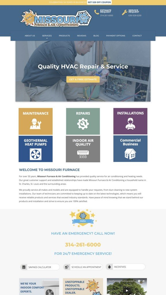 hvac web design sample 2019