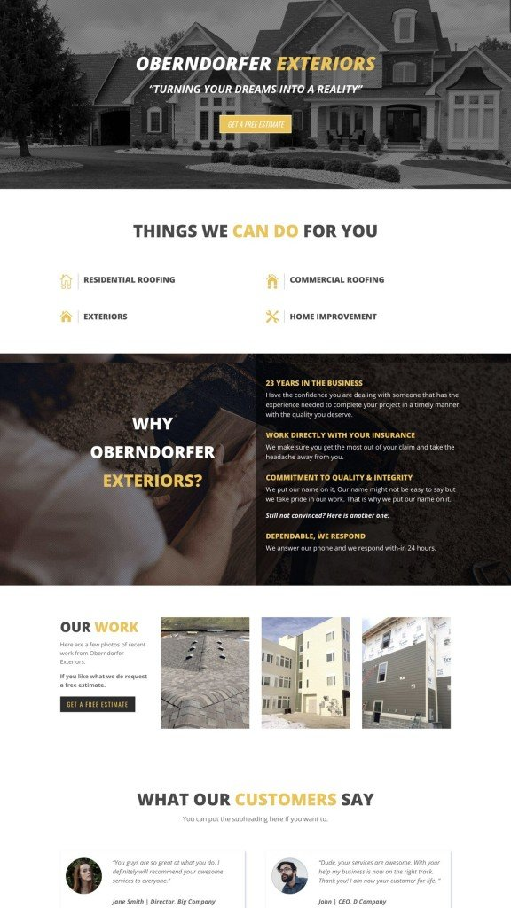 roofing web design sample 2019