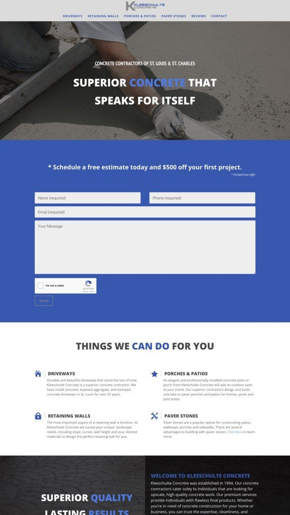 concrete contractor web design sample 2019