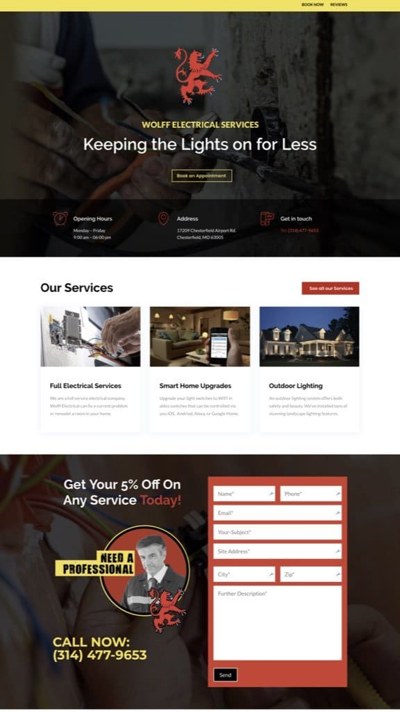 electrician web design sample 2019
