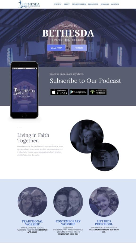 church web design sample 2019