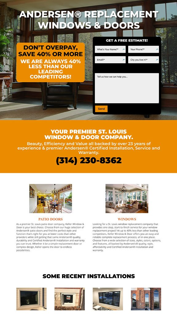window door contractor web design sample 2019