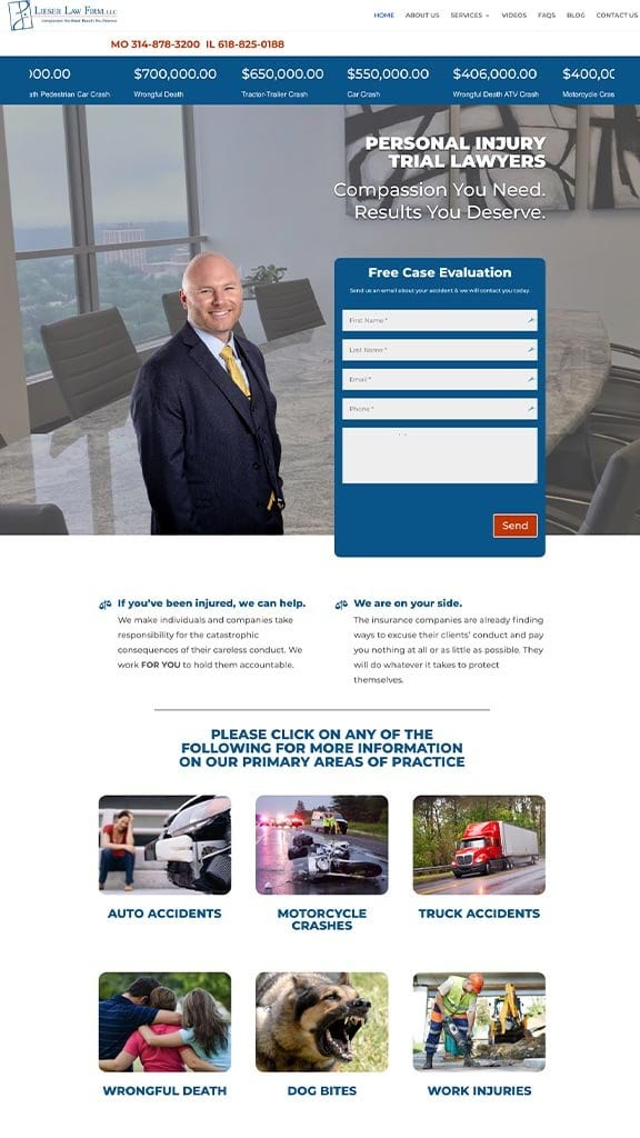 trial lawyer attorney web design sample 2019